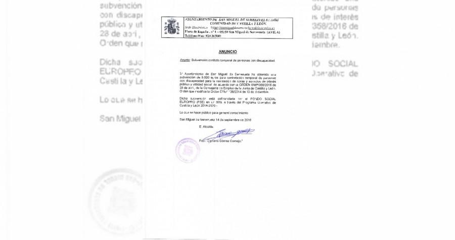 Anuncio subvencion contrato discapacitados